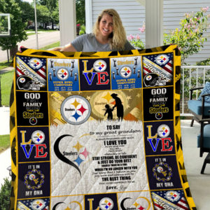 Pittsburgh Steelers – To My Great Grandson – Love Gigi Quilt Blanket