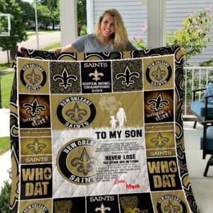 New Orleans Saints – To My Son – Love Mom Quilt Blanket