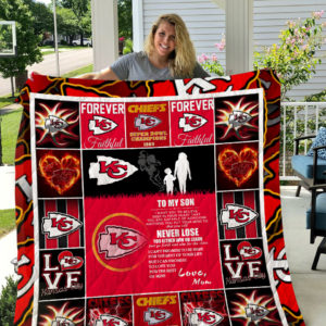 Kansas City Chiefs – To My Son – Love Mom Quilt Blanket