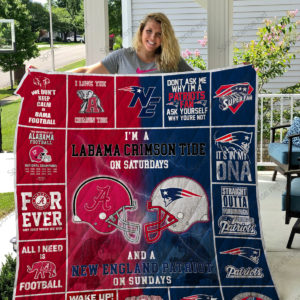 Alabama Crimson Tide &Amp; New England Patriots Quilt Blanket