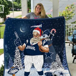 Dallas Cowboys Santa Claus Quilt Blanket