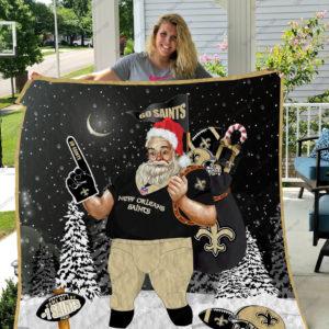 New Orleans Saints Santa Claus Quilt Blanket