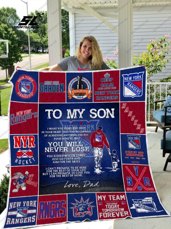 H – New York Rangers D Quilt Blanket