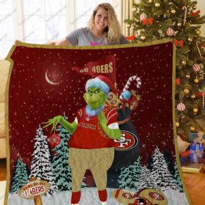 San Francisco 49ers Grinch Santa Quilt Blanket