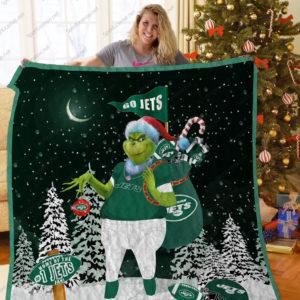 New York Jets Grinch Santa Quilt Blanket