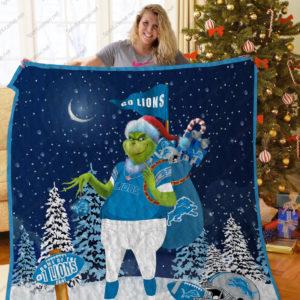 Detroit Lions Grinch Santa Quilt Blanket