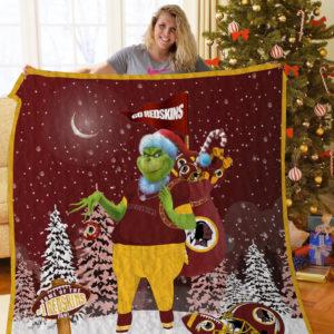 Washington Redskins Grinch Santa Quilt Blanket