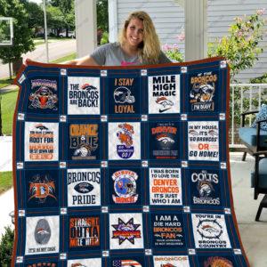 Denver Broncos Quilt Blanket Ver 06
