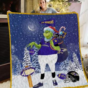 Baltimore Ravens Grinch Santa Quilt Blanket