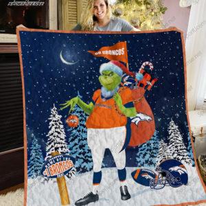 Denver Broncos Grinch Santa Quilt Blanket