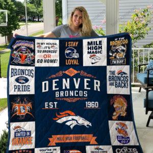 Denver Broncos Quilt Blanket Ver 17
