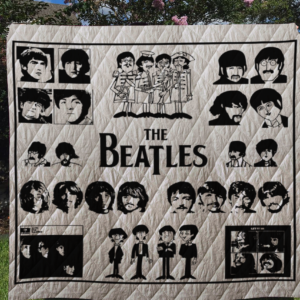 The Beatles Quilt Blanket Black&Amp;White