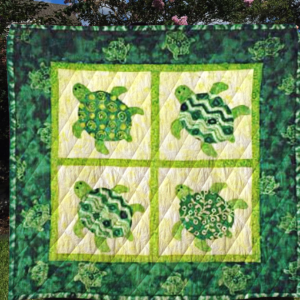 Green Turtle Quilt Blanket Great Customized Blanket Gifts For Birthday Christmas Thanksgiving