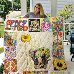 Hippie Elephant Sunflower Make Love Not War Quilt Blanket Great Customized Gifts For Birthday Christmas Thanksgiving Perfect Gifts For Hippie
