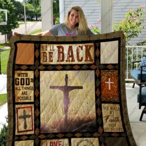 Jesus – He'll Be Back Quilt Blanket