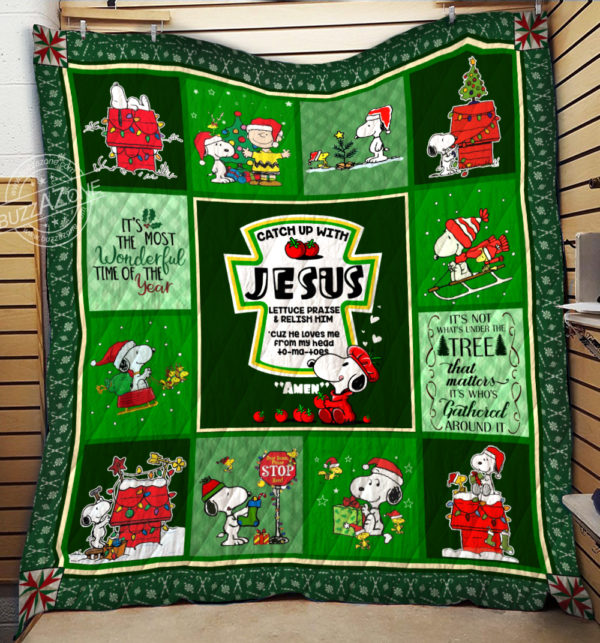 Snoopy Catch Up With Jesus Quilt Blanket