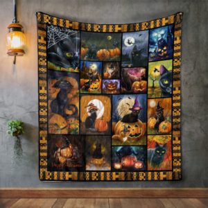 Cats Haloween Album Covers Quilt Blanket