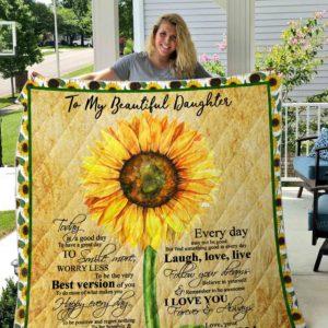 Daughter- Sunflower Quilt Blanket 01
