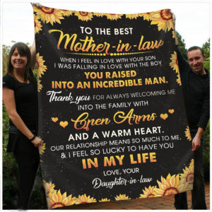 Personalized Sunflower To My Mother In Law From Daughter In Law When I Felt In Love With Your Son Quilt Blanket Great Customized Gifts For Birthday Christmas Thanksgiving Perfect Gifts For Sunflower Lover