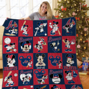 Atlanta Braves Mickey Mouse Quilt Blanket