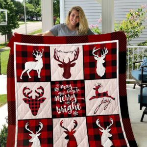 Merry Christmas Theme May Your Days Be Merry And Bright Quilt Blanket Great Customized Blanket Gifts For Birthday Christmas Thanksgiving