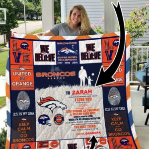 Denver Broncos – Personalized Name Quilt Blanket