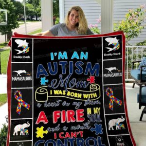 Autism Mom I Was Born With A Heart On My Sleeve Quilt Blanket Great Customized Gifts For Birthday Christmas Thanksgiving Mother's Day Perfect Gifts For Autism