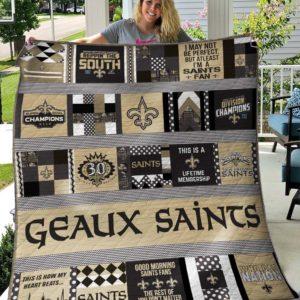 New Orleans Saints 3 Quilt Blanket