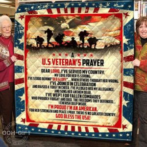 Us Veteran Dear Lord I've Served My Country Quilt Blanket Great Customized Gifts For Birthday Christmas Thanksgiving Perfect Gifts For Veteran Lover
