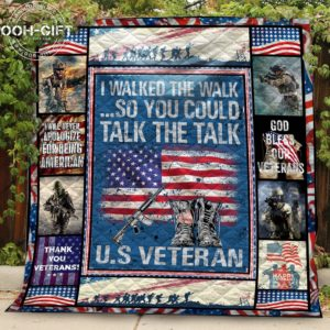 American Veteran You Could Talk The Talk Quilt Blanket Great Customized Gifts For Birthday Christmas Thanksgiving Perfect Gifts For Veteran
