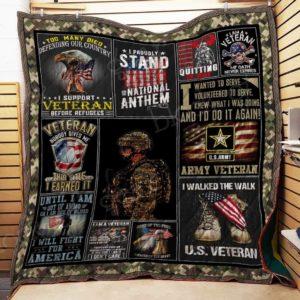 Bc – I Am A Proud U.S. Veteran Quilt Blanket
