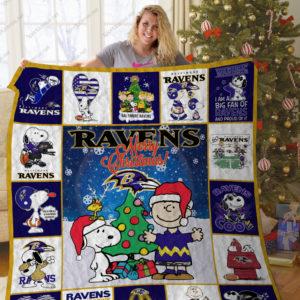 Bl –baltimore Ravens + Snoopy Quilt Blanket Ver 11