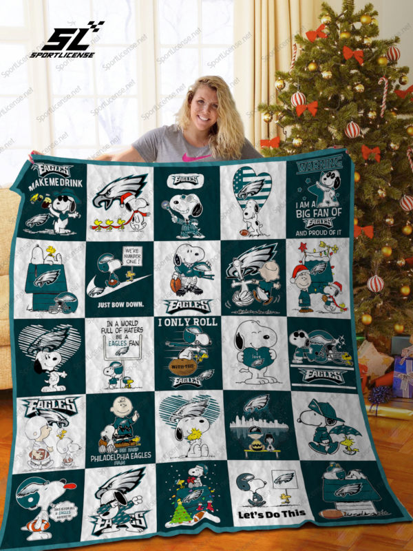 Bl –philadelphia Eagles+Snoopy Quilt Blanket