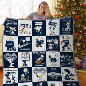 Bl – Seattle Seahawks+Snoopy Quilt Blanket