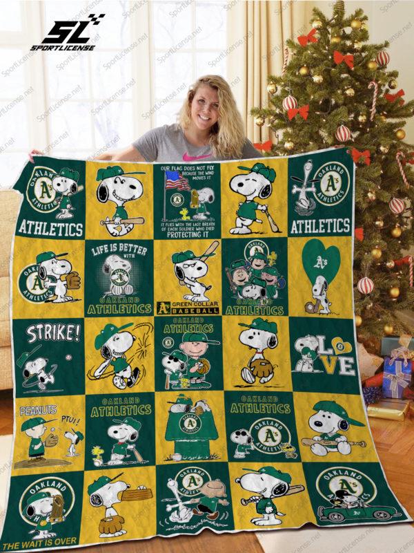 H – Oakland Athletics+Snoopy Quilt Blanket Ver Sp