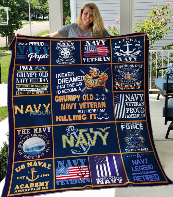 Navy Veteran I'd Become Grumpy Old Navy Veteran Quilt Blanket Great Customized Gifts For Birthday Christmas Thanksgiving Perfect Gifts For Veteran Lover