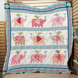 Elephant With Floral Pattern Quilt Blanket Great Customized Gifts For Birthday Christmas Thanksgiving Perfect Gifts For Elephant Lover