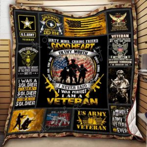 Us Army Veteran I Never Said I Was Perfect Quilt Blanket Great Customized Gifts For Birthday Christmas Thanksgiving Perfect Gifts For Veteran Lover