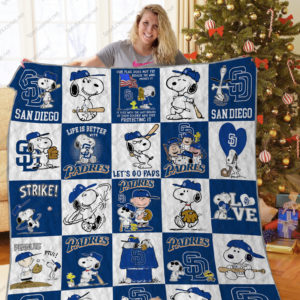 San Diego Padres Snoopy Dog Quilt Blanket Great Customized Blanket Gifts For Birthday Christmas Thanksgiving