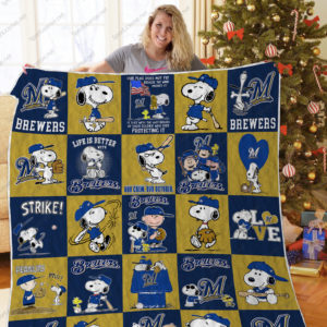 H – Milwaukee Brewers+Snoopy Quilt Blanket Ver Sp