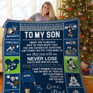 Bl –seattle Seahawks, To My Son Quilt Blanket