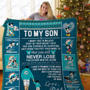 Bl – Miami Dolphins, To My Son Quilt Blanket