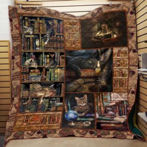 Book And Cat In Library Quilt Blanket Great Customized Gifts For Birthday Christmas Thanksgiving Perfect Gifts For Cat Lover