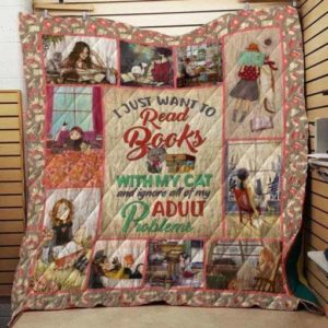 Bc – I Just Want To Read Books With My Cat Quilt Blanket