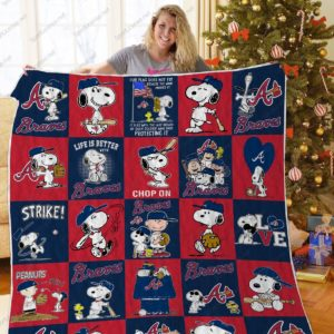 H – Atlanta Braves+Snoopy Quilt Blanket Ver Sp