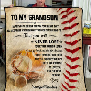 Personalized Baseball To My Grandson From Grandparents Achieving Anything You Put Your Mind To Quilt Blanket Great Customized Gifts For Birthday Christmas Thanksgiving Perfect Gifts For Baseball Lover