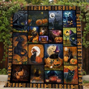 Black Cats Haloween Trick Or Treat Quilt Blanket Great Customized Gifts For Birthday Christmas Thanksgiving Halloween Perfect Gifts For Cat Lover