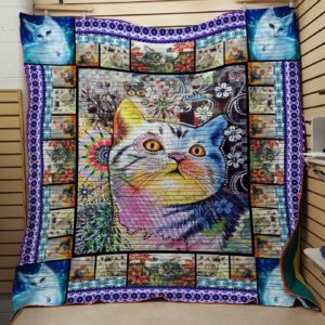 American Shorthair Idol Cat Floral Background Quilt Blanket Great Customized Gifts For Birthday Christmas Thanksgiving Perfect Gifts For Cat Lover
