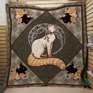 Princess Cat With Long Tail Quilt Blanket Great Customized Gifts For Birthday Christmas Thanksgiving Perfect Gifts For Cat Lover