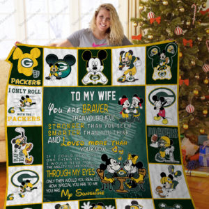 Green Bay Packers To My Wife Quilt Blanket